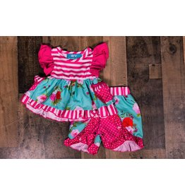 SJ's Hot Pink and Aqua Floral Short Set