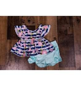SJ's Aqua and Blue Floral Print Short Set