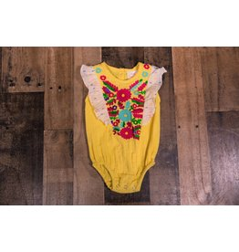 Masala Baby Yellow Ruffle One Piece with Neon Accents