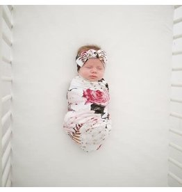 Posh Peanut Black Rose Swaddle And Headband Set