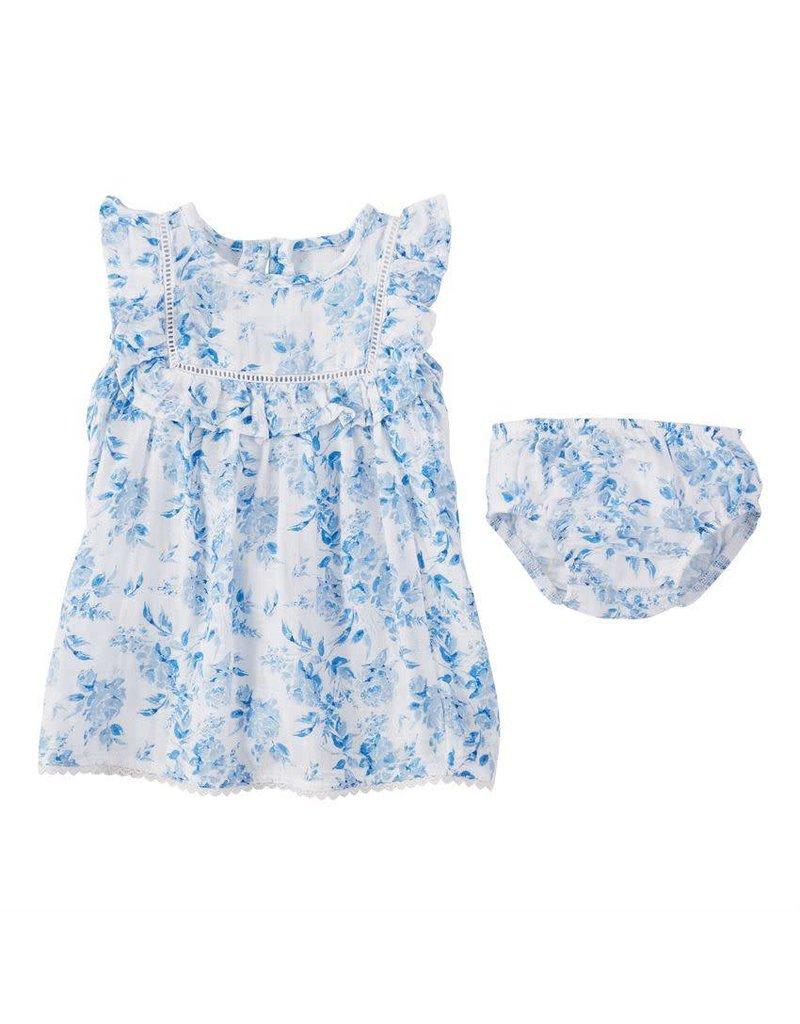 cc90d211701 Muslin Blue Floral Baby Dress - Peek-a-Bootique
