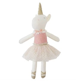 Mud Pie Pink Linen Unicorn Doll
