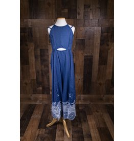 Truly Me Embroidered Chambray Jumpsuit w/ Peek-a-boo Waist Detail