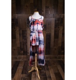 Truly Me Tie-Dye Cold Shoulder Ruffle Romper w/ Maxi Skirt Overlay