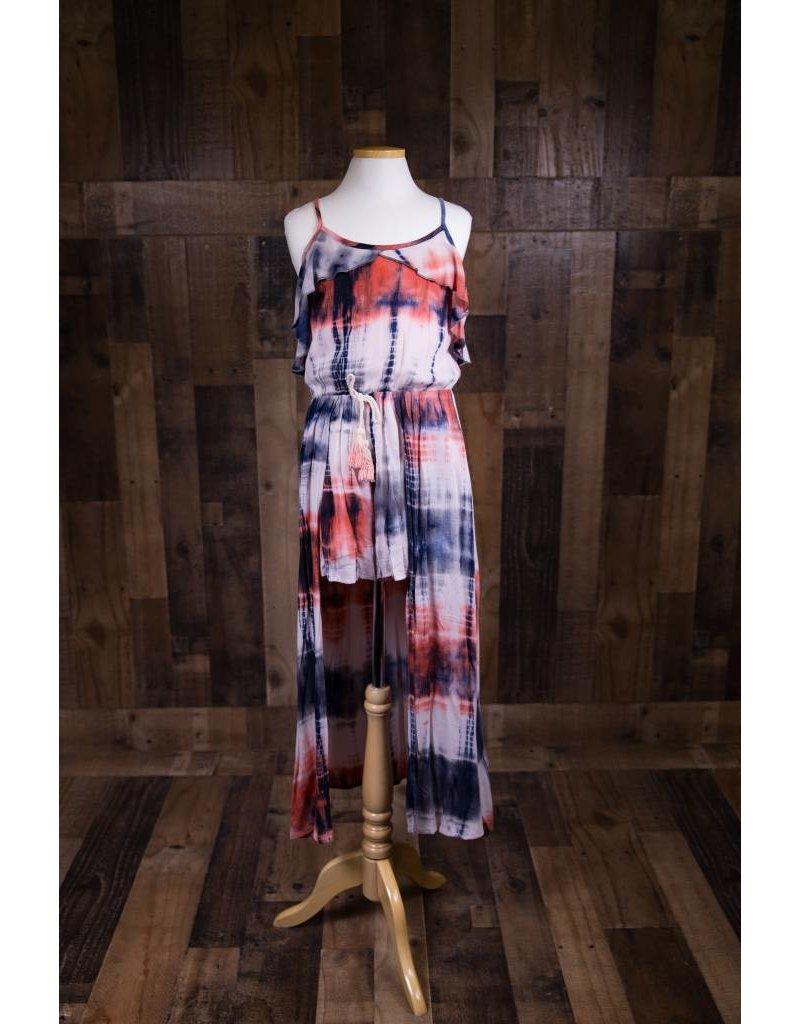 b7705c93de7 Tie-Dye Cold Shoulder Ruffle Romper w  Maxi Skirt Overlay - Peek-a ...