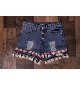Truly Me Boho Tassel Denim Shorts