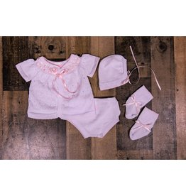 Will'beth White/Pink  Knit 4pc Set