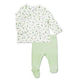 Angel Dear Sweet Peas Bamboo Kimono & Pant Set