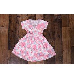 Bestaroo Pink Floral Short Sleeve Dress