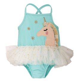 Mud Pie Aqua Unicorn Tutu Swimsuit