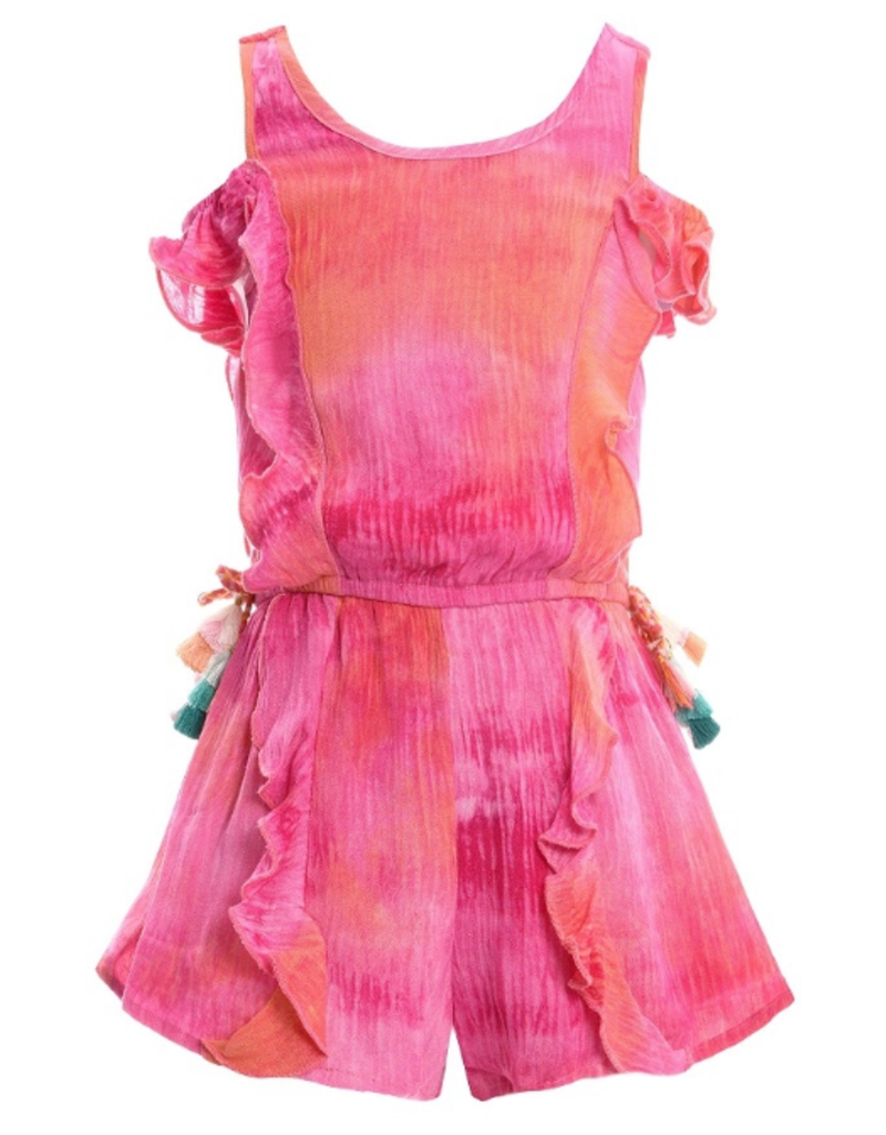 c9f9c05a715 Pink Tie Dye Ruffle Romper - Peek-a-Bootique