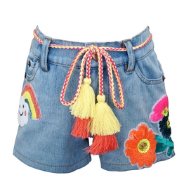 Baby Sara Denim Sequin Rainbow Shorts