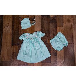 Mom & Me Aqua Rosette Dress, Bloomer and Bonnet Set