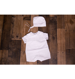 Mom & Me White Smocked Peter Pan Collar Romper and Bonnet