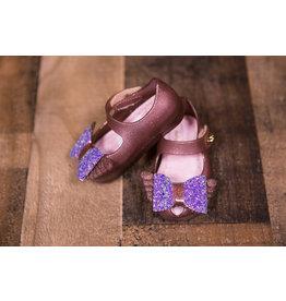 World Colors Glitter Bronze Peep Toe Confetti Shoe