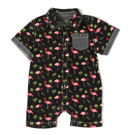 Kapital K Flamingo Printed Printed Poplin Button-Down Romper