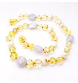 Momma Goose Princess - Lemon Amber, Pearls, Blue Chalcedony