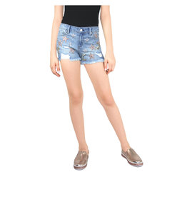 Miss Me Star and Moon Denim Shorts