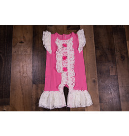Sassy Me Rose Pink Romper With Lace Ruffle