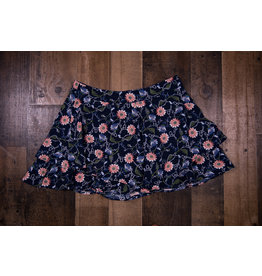 Paper Flower Navy Ruffle Floral Shorts