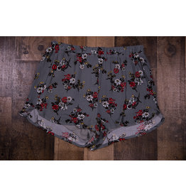 Paper Flower Gray Floral Print Shorts