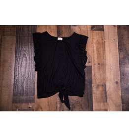 Paper Flower Black Ruffle Sleeve Front Tie Top