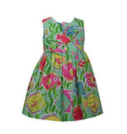 Bonnie Jean Aqua Fish Dress w/ Bloomer