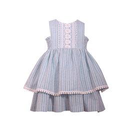 Bonnie Jean Blue/White Striped Chambray Dress