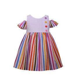 Bonnie Jean Rainbow Striped Cold Shoulder Dress