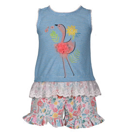 Bonnie Jean Striped Flamingo Tank & Short Set