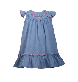 Bonnie Jean Light Denim Dress w/ Embroidered Flowers