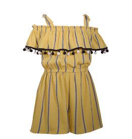 Bonnie Jean Yellow w/ Navy/White Striped Short Romper