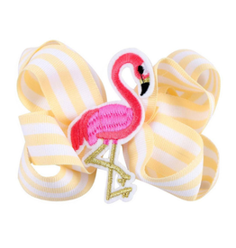 Yellow/White Stripe Flamingo Bow