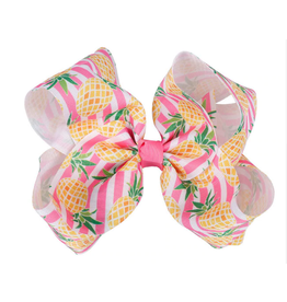 Pink/White Striped Pineapple Bow
