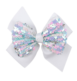White w/ Pastel Sequins Bow