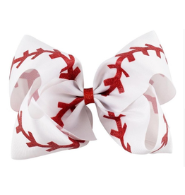 White Baseball Bow