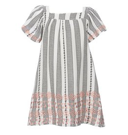 Jessica Simpson Lace Striped Crinkle Gauze A-Line Dress