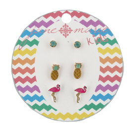 Jane Marie Kids Mint Pineapple Flamingo Studs