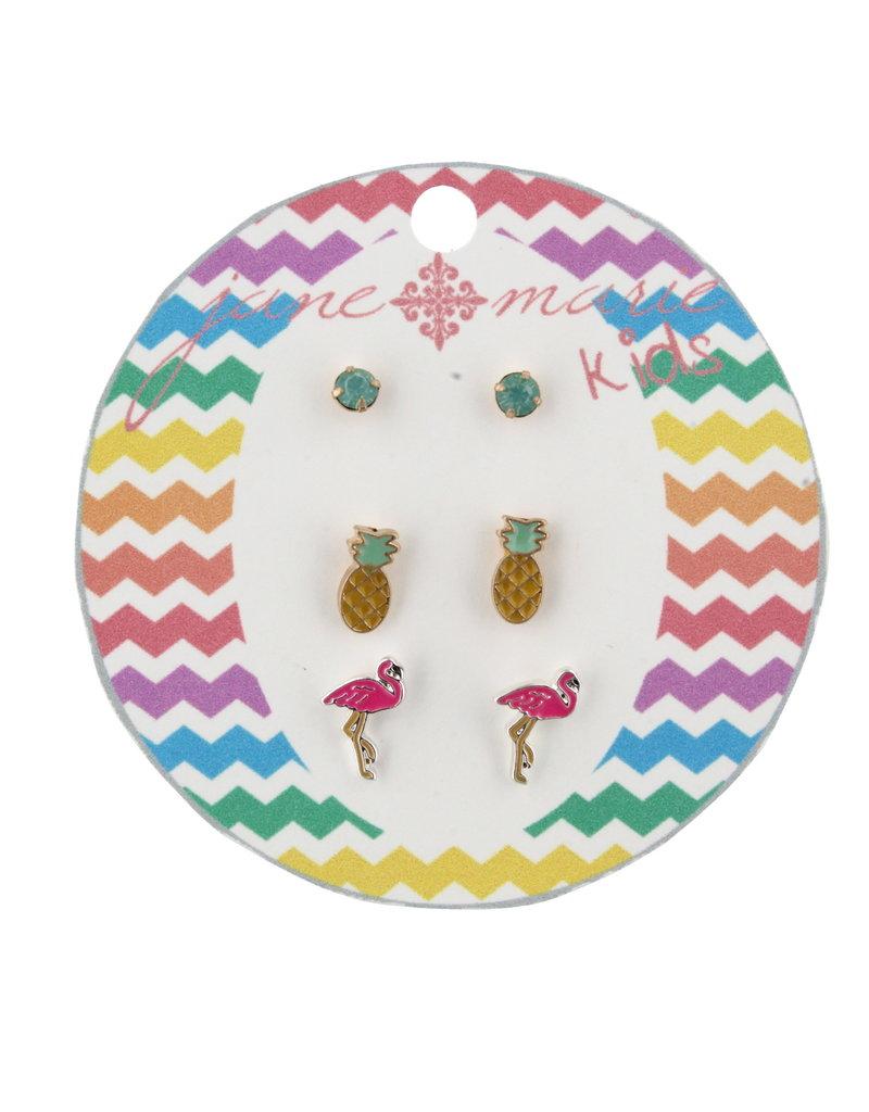 Jane Marie Kids Mint Pineapple Flamingo Studs