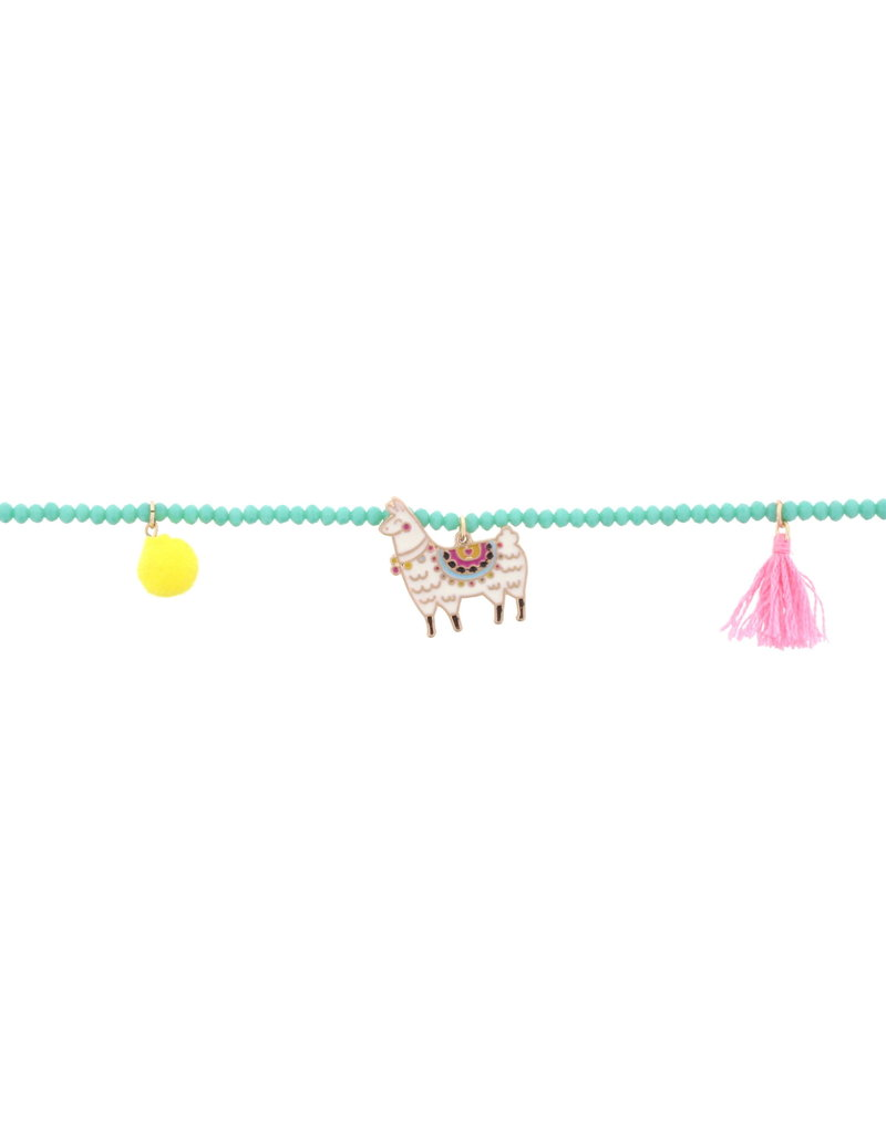 Jane Marie Hot Pink Beaded Necklace With Llama Charm