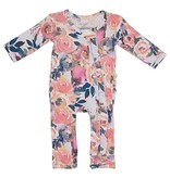 Posh Peanut Dusk Rose Ruffled Zippered Onesie