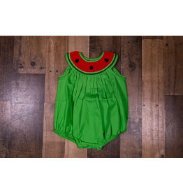 Mom & Me Green Watermelon Smocked Dress
