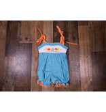 Mom & Me Teal Checkered Smocked Fish Romper
