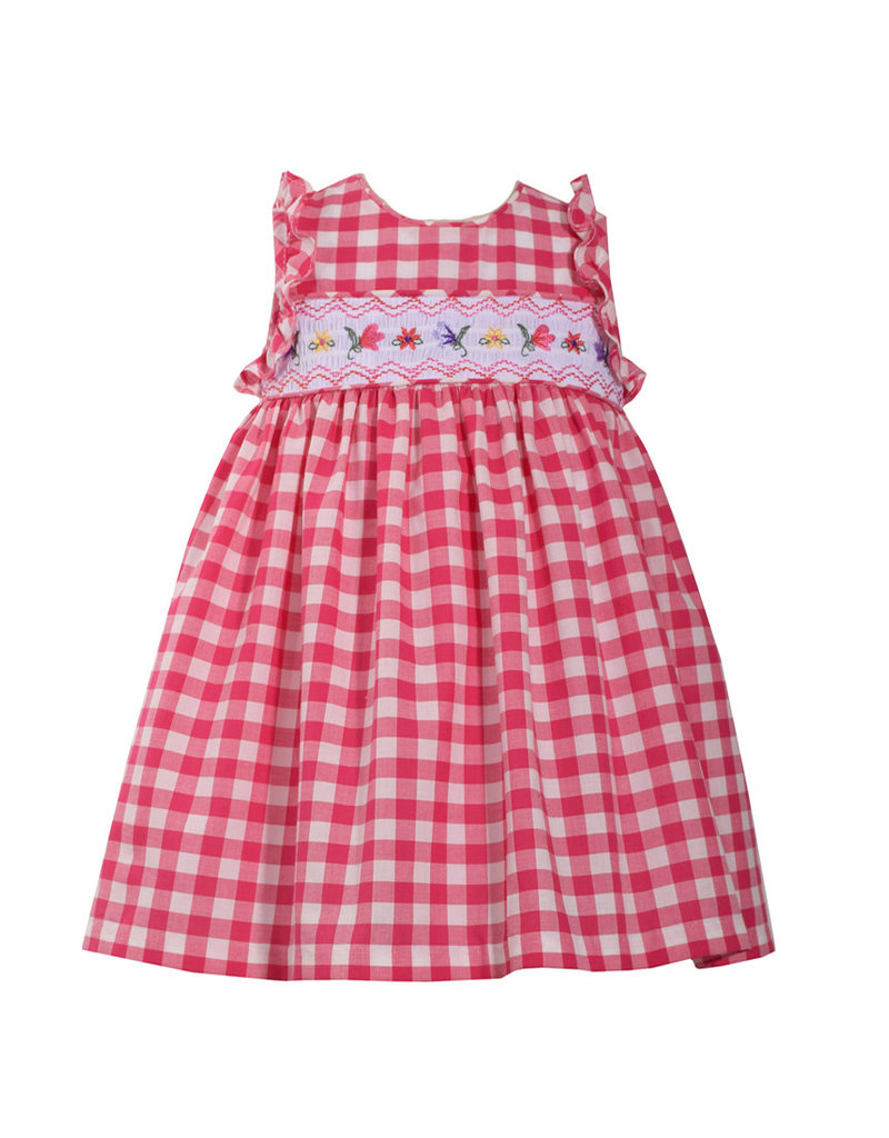 Bonnie Jean Christmas Outfits.Red Gingham Smocked Dress