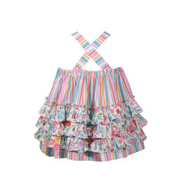 Bonnie Jean Flamingo Print Ruffle Dress
