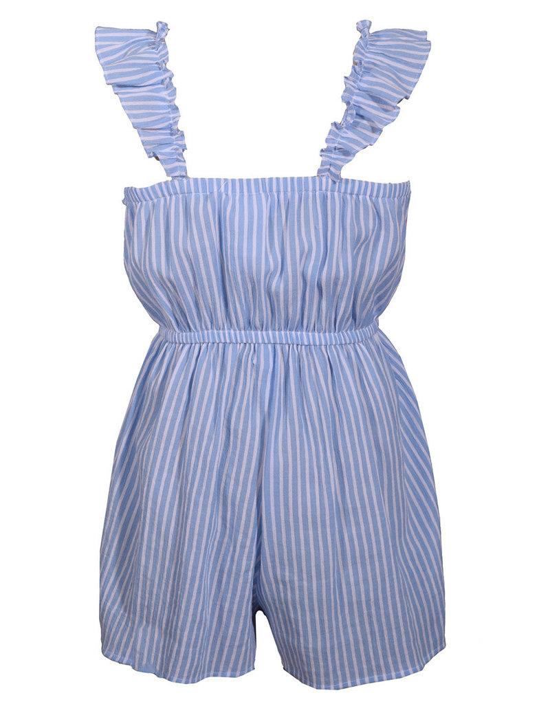 Bonnie Jean Blue Stripe Tassel Romper