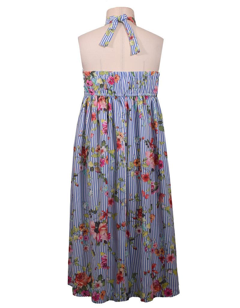 Bonnie Jean Striped Floral Popover Maxi Dress