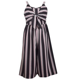 Bonnie Jean Black And White Striped Gaucho Romper