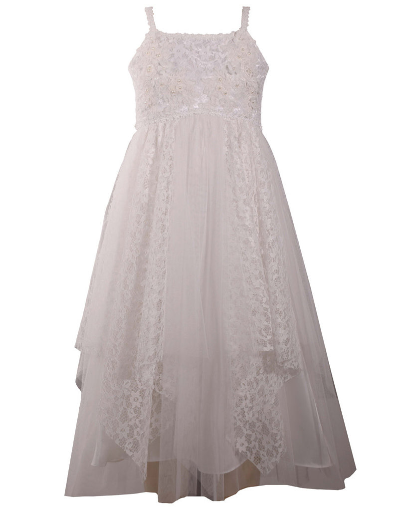 Bonnie Jean Lace And Pearl Mesh Dress