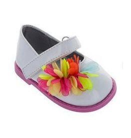 Rugged Bear Patent Leather Mary Jane with Multi Flower